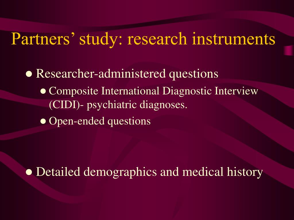 Partners' study: research instruments