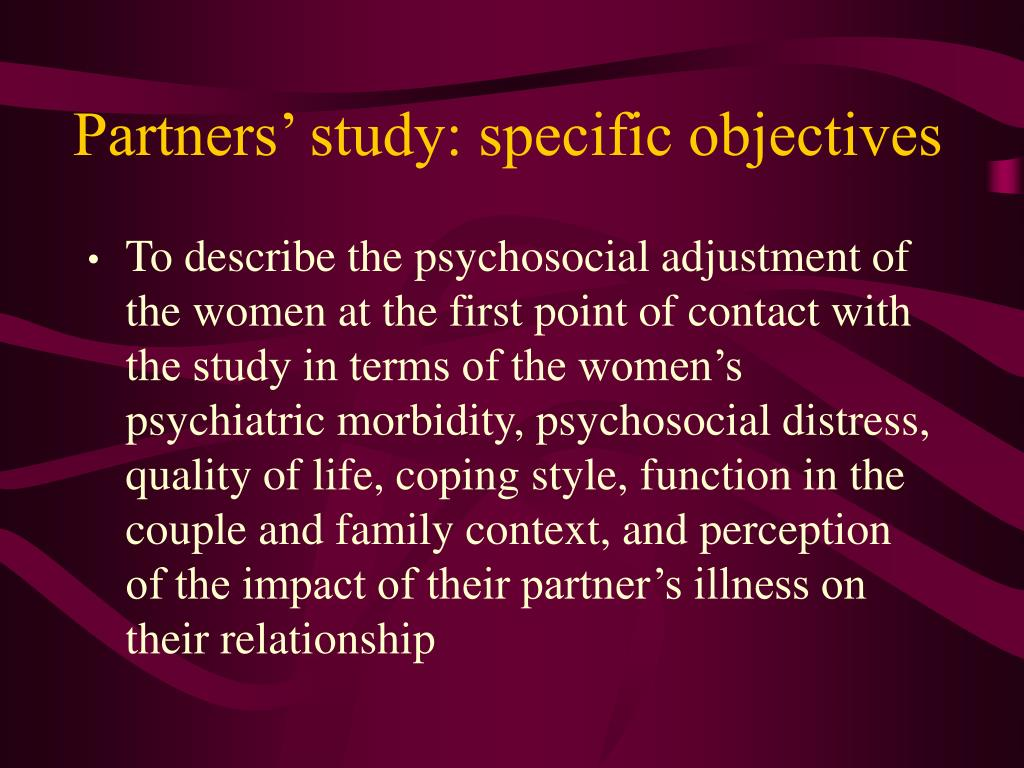 Partners' study: specific objectives