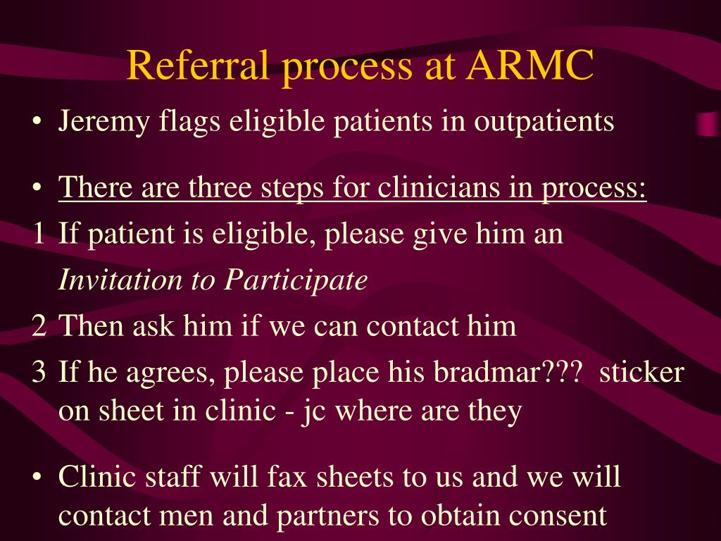 Referral process at ARMC