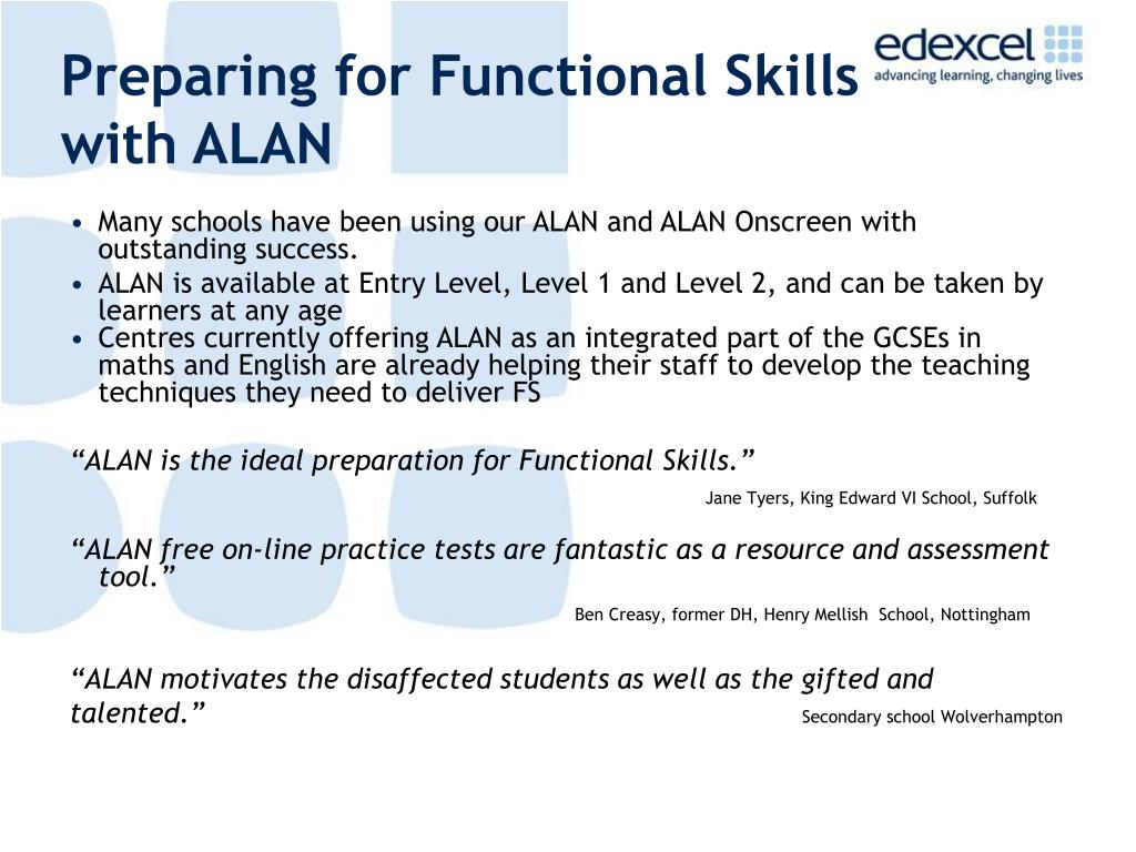 Preparing for Functional Skills with ALAN