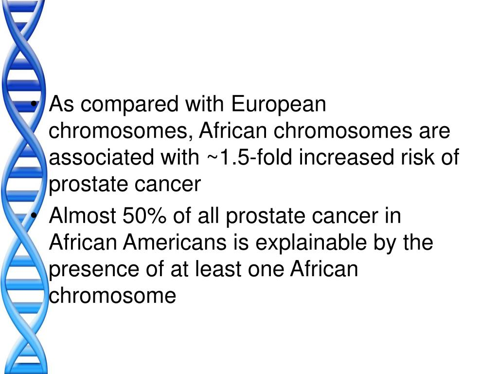 As compared with European chromosomes, African chromosomes are associated with ~1.5-fold increased risk of prostate cancer