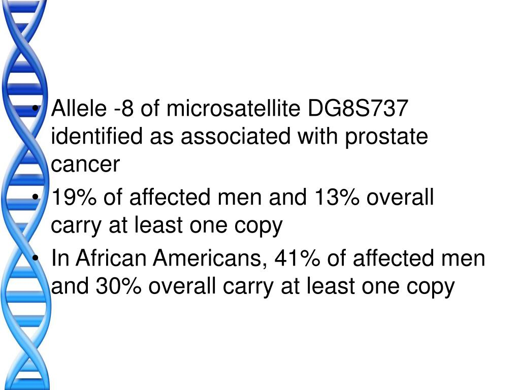 Allele -8 of microsatellite DG8S737 identified as associated with prostate cancer