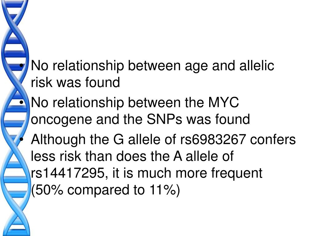 No relationship between age and allelic risk was found