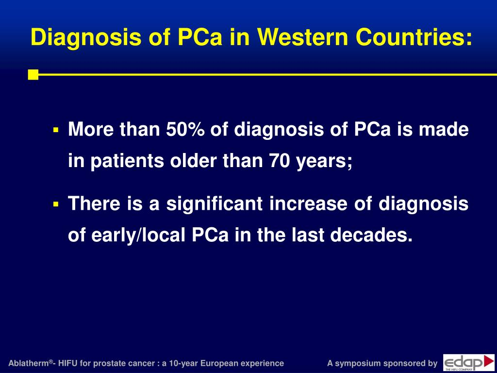 Diagnosis of PCa in Western Countries: