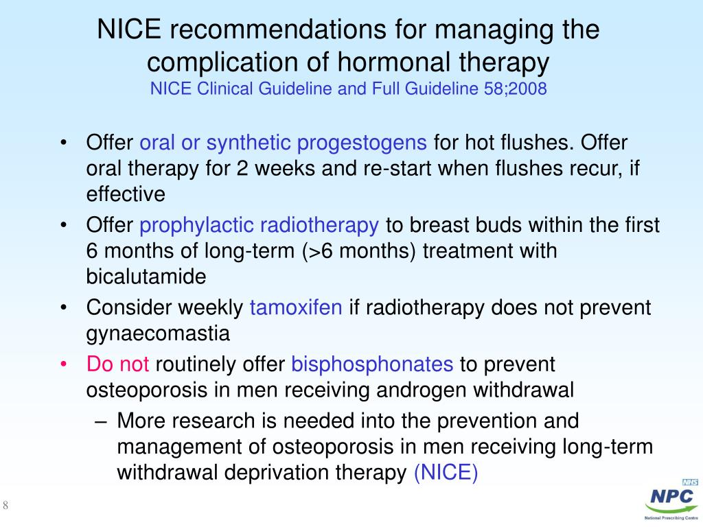 NICE recommendations for managing the complication of hormonal therapy