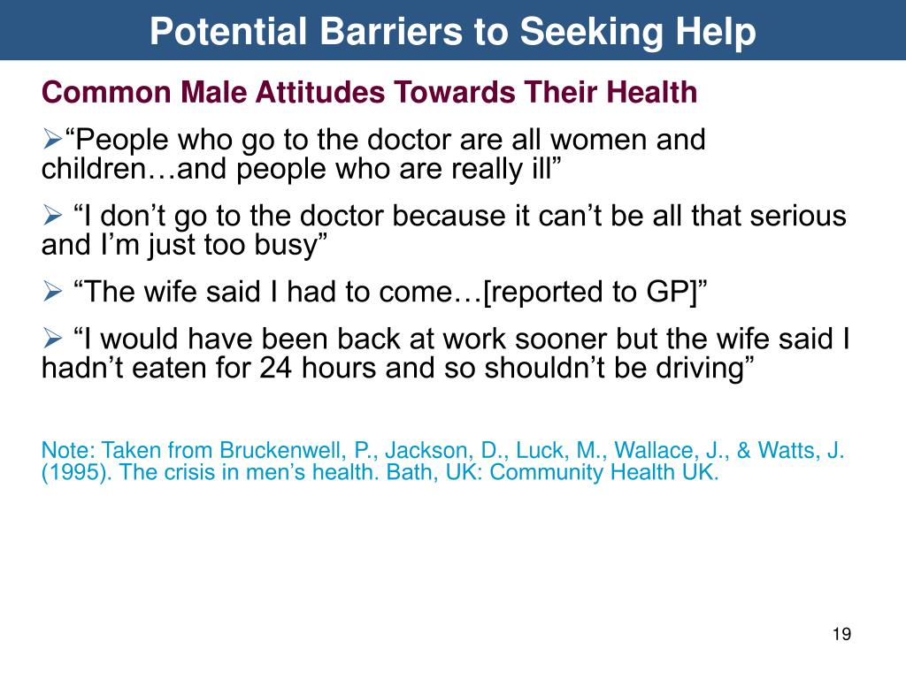 Potential Barriers to Seeking Help