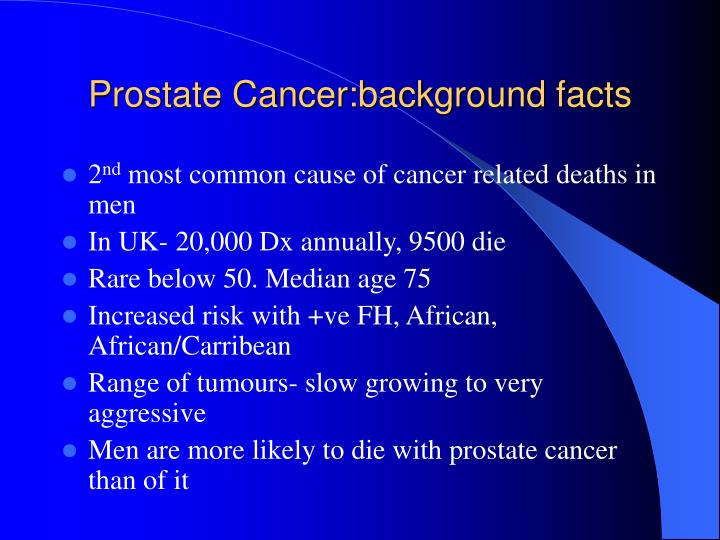 Prostate cancer background facts