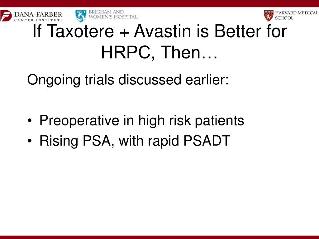 If Taxotere + Avastin is Better for HRPC, Then…