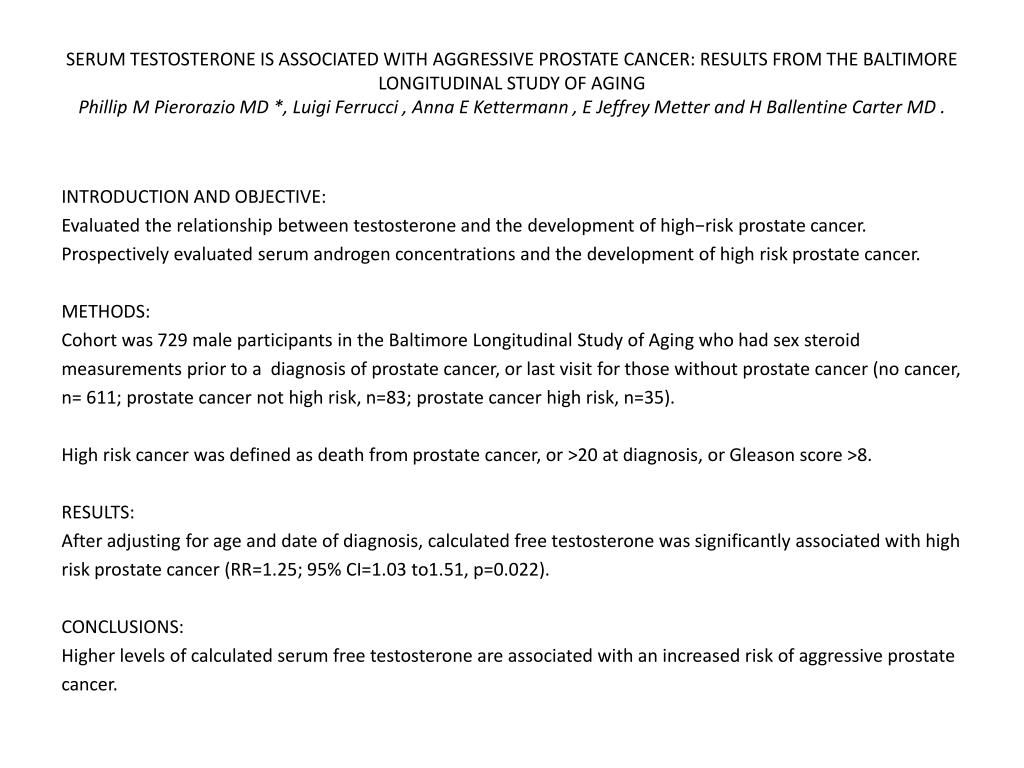 SERUM TESTOSTERONE IS ASSOCIATED WITH AGGRESSIVE PROSTATE CANCER: RESULTS FROM THE BALTIMORE