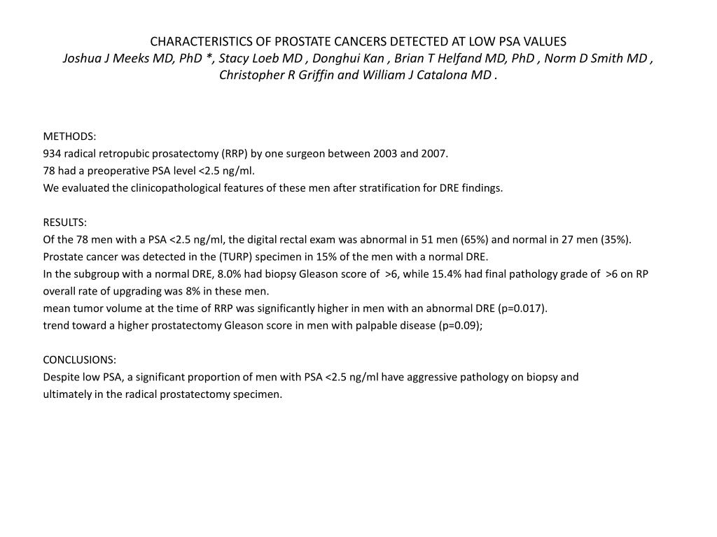 CHARACTERISTICS OF PROSTATE CANCERS DETECTED AT LOW PSA VALUES