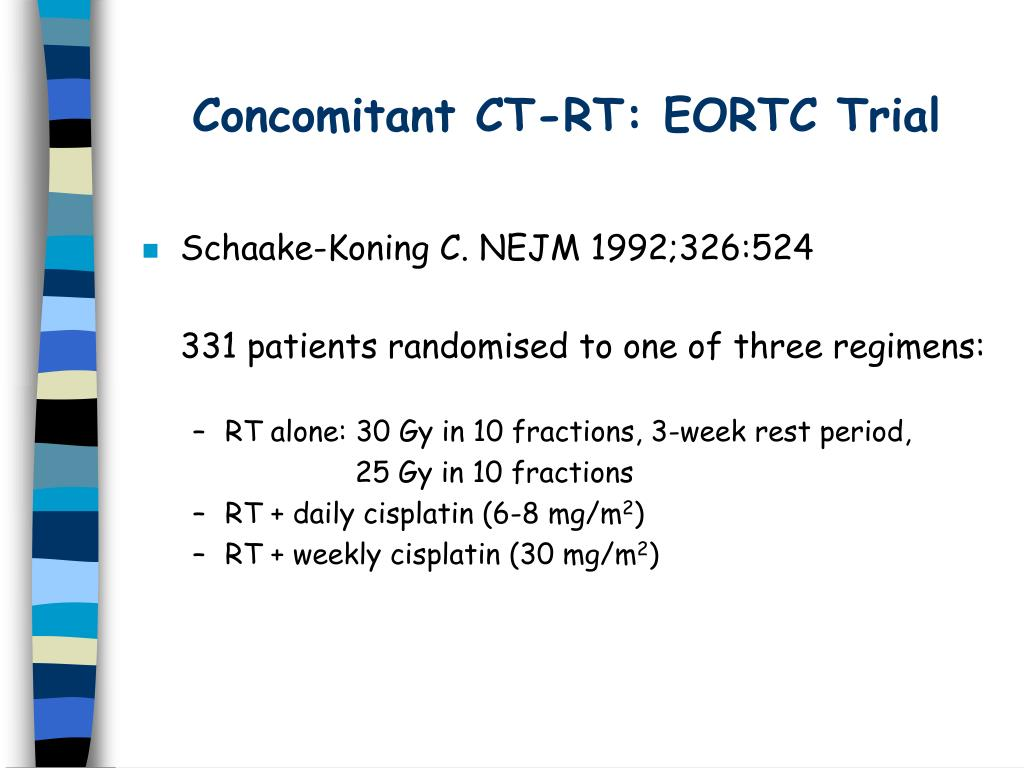 Concomitant CT-RT: EORTC Trial