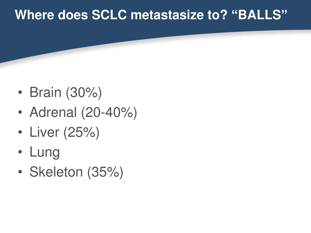 "Where does SCLC metastasize to? ""BALLS"""