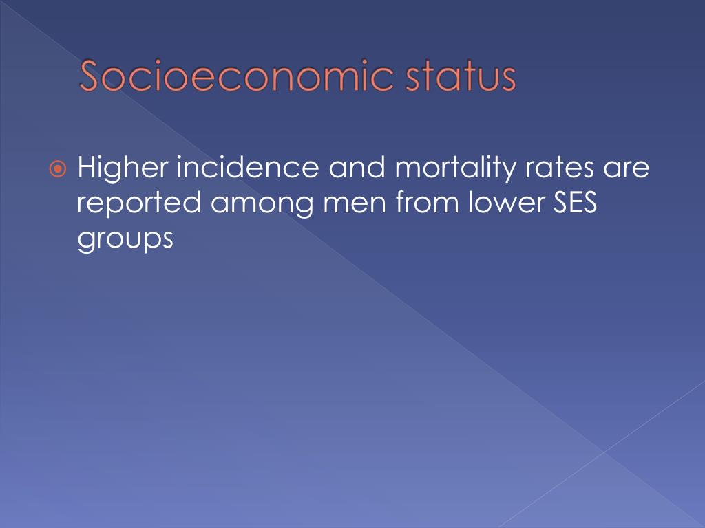 Higher incidence and mortality rates are reported among men from lower SES groups