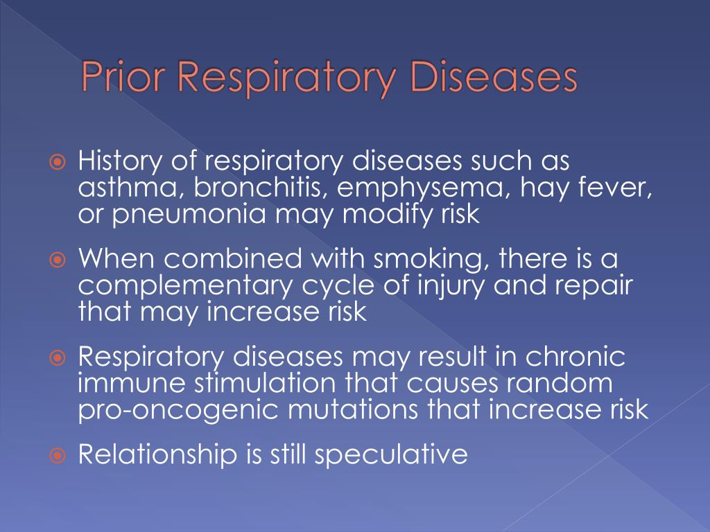 History of respiratory diseases such as asthma, bronchitis, emphysema, hay fever, or pneumonia may modify risk