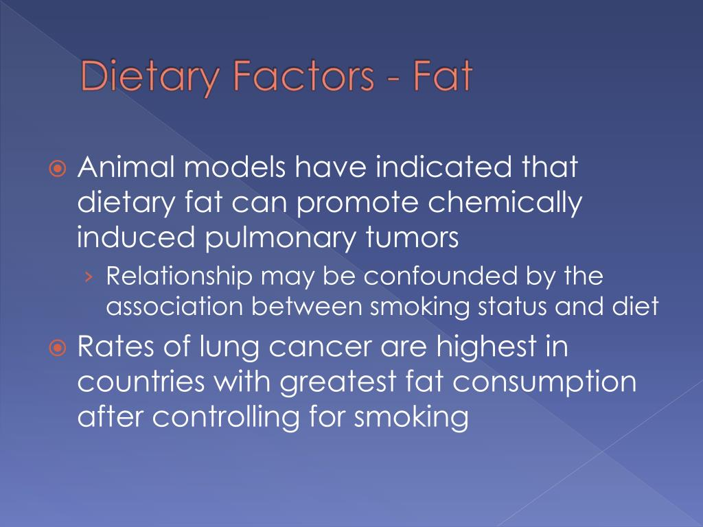 Animal models have indicated that dietary fat can promote chemically induced pulmonary tumors