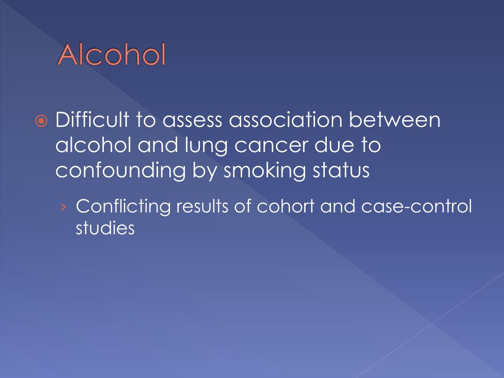 Difficult to assess association between alcohol and lung cancer due to confounding by smoking status