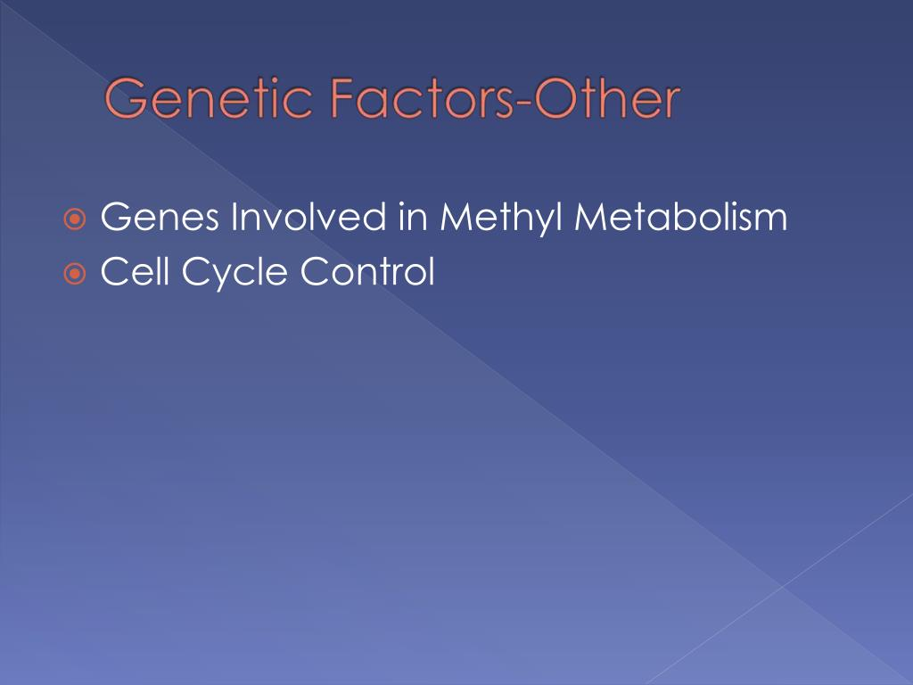 Genes Involved in Methyl Metabolism