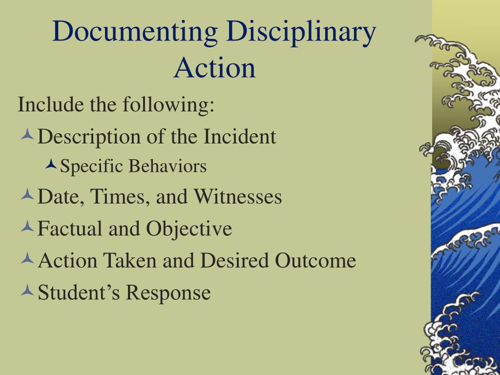 Documenting Disciplinary Action