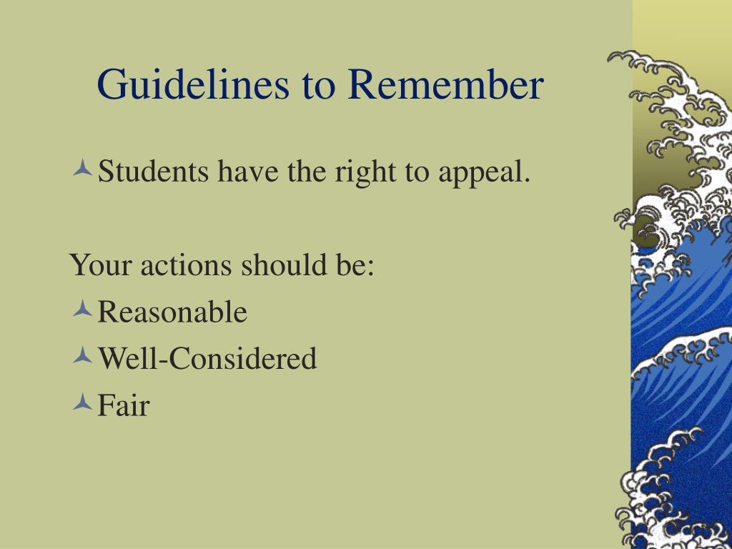 Guidelines to Remember