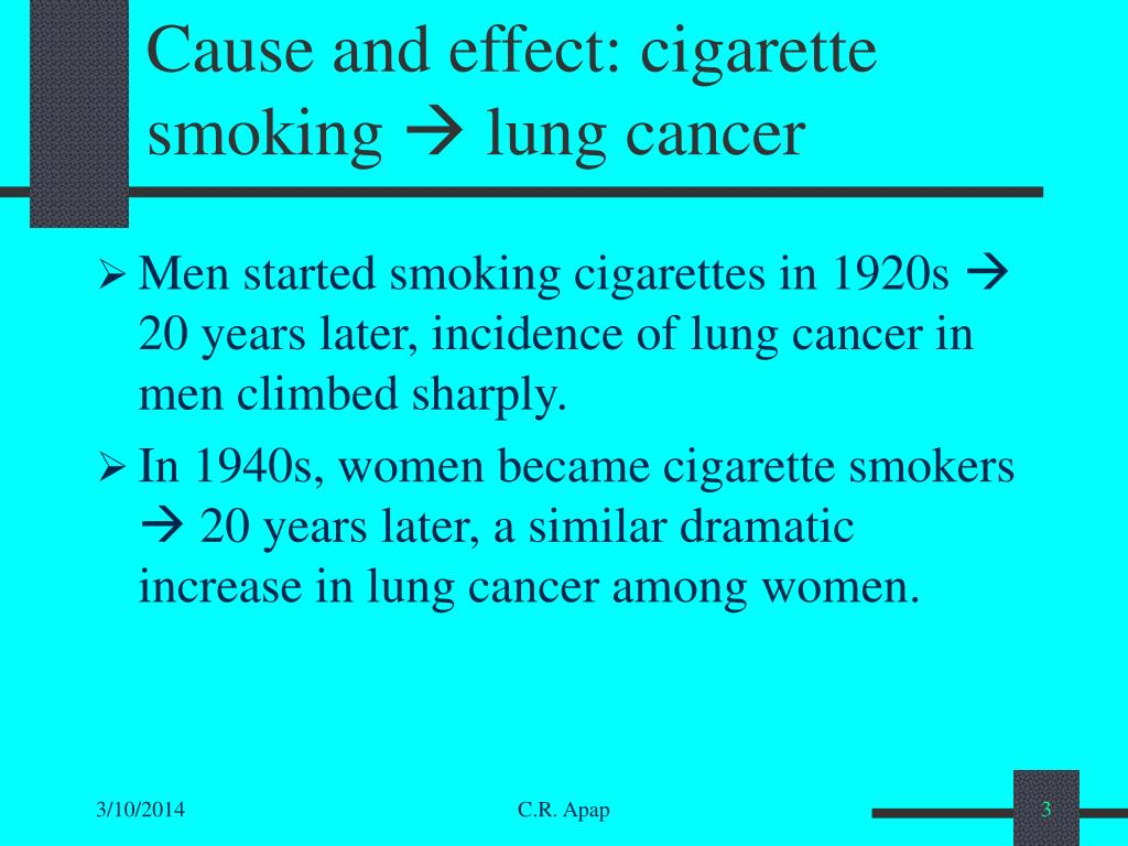 Cause and effect: cigarette smoking