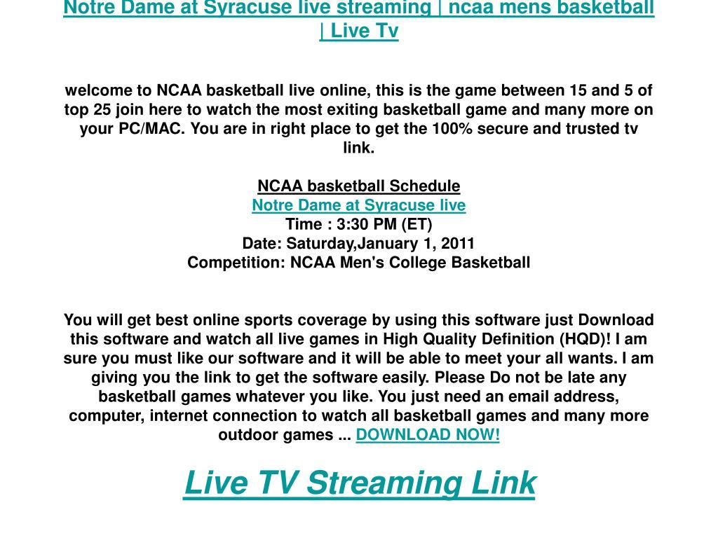 Notre Dame at Syracuse live streaming   ncaa mens basketball   Live Tv