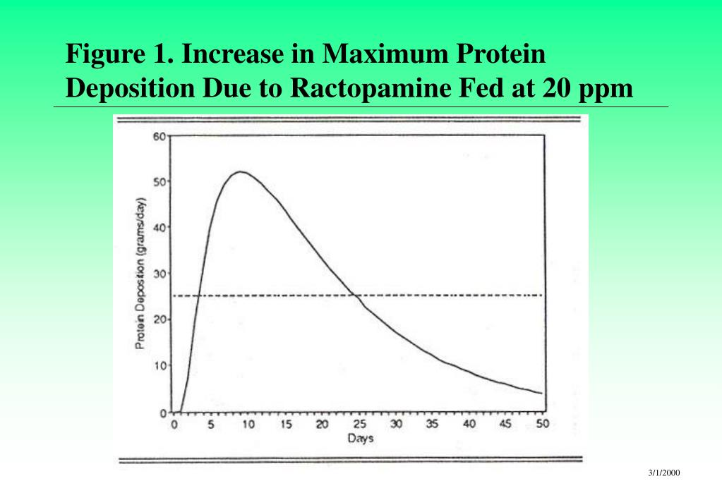 Figure 1. Increase in Maximum Protein Deposition Due to Ractopamine Fed at 20 ppm
