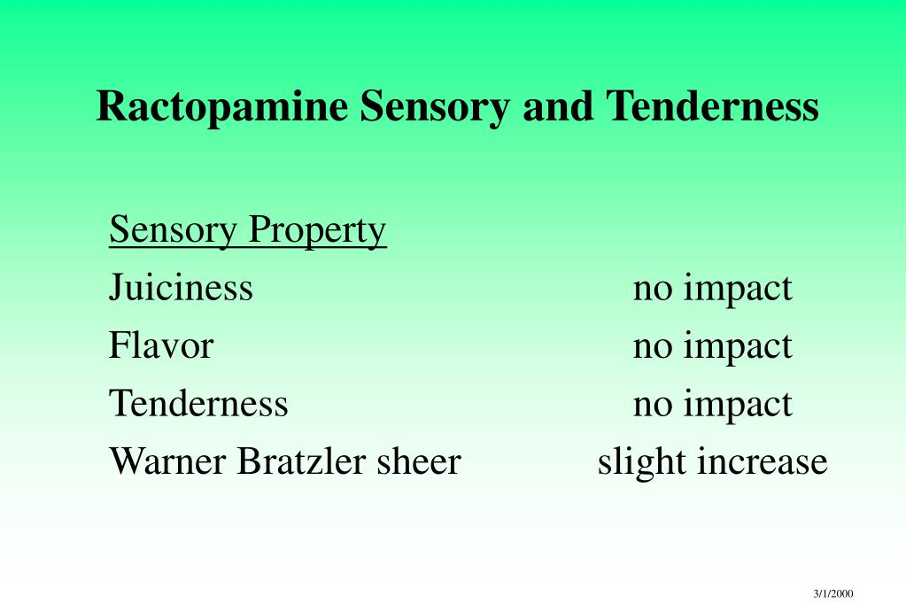Ractopamine Sensory and Tenderness