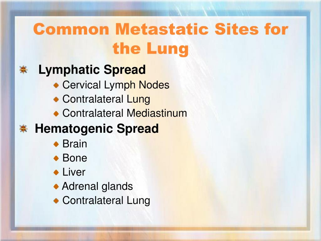 Common Metastatic Sites for the Lung