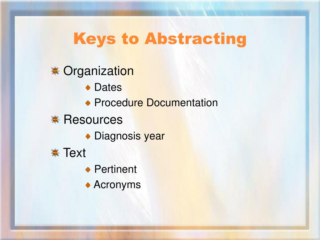 Keys to Abstracting