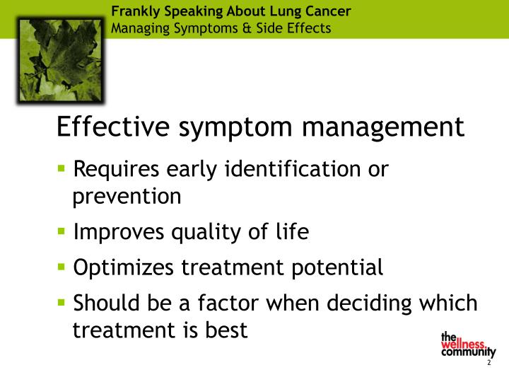 Frankly speaking about lung cancer managing symptoms side effects