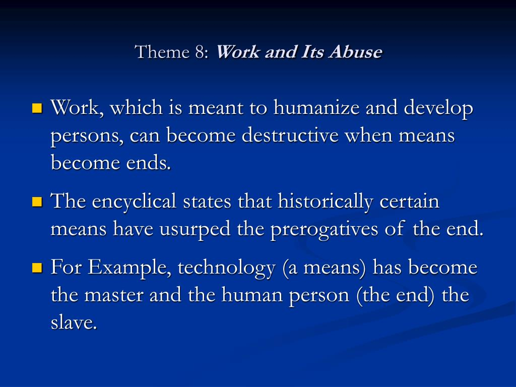 Dmca: Themes Of On Human Work (Laborem Exercens