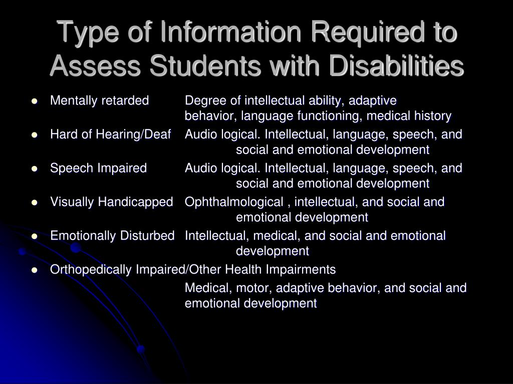 Type of Information Required to Assess Students with Disabilities