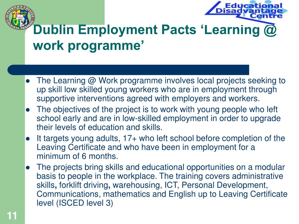 Dublin Employment Pacts 'Learning @ work programme'