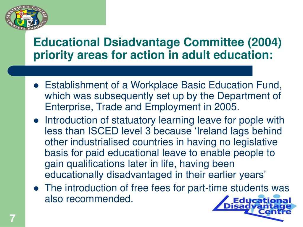 Educational Dsiadvantage Committee (2004) priority areas for action in adult education: