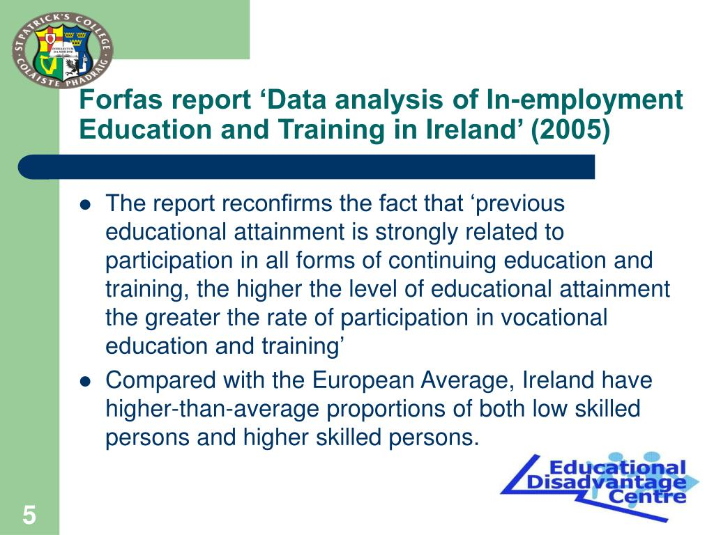 Forfas report 'Data analysis of In-employment Education and Training in Ireland' (2005)