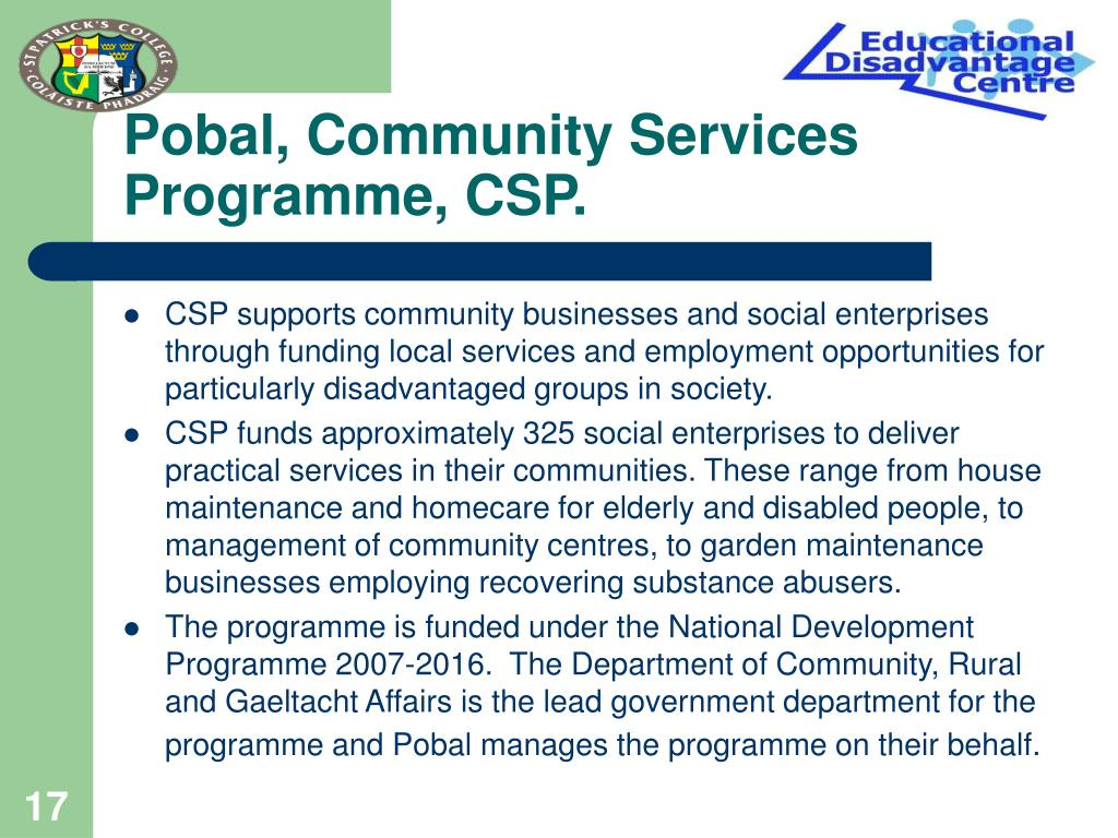 Pobal, Community Services Programme, CSP.