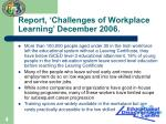 report challenges of workplace learning december 2006