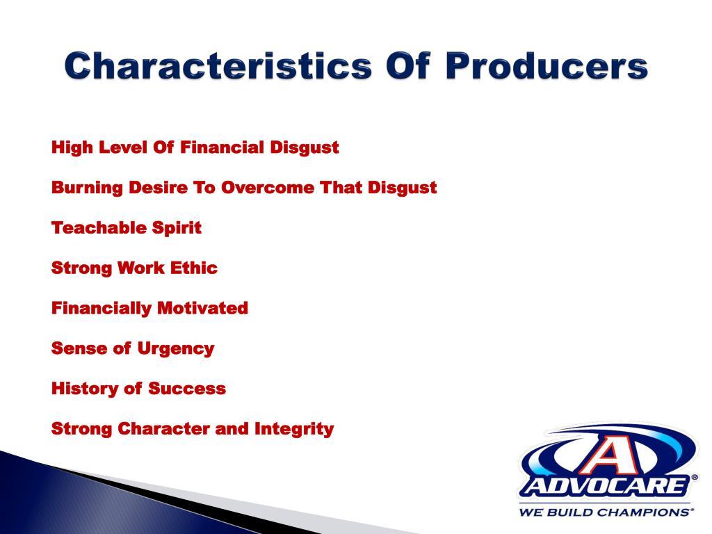 Characteristics Of Producers
