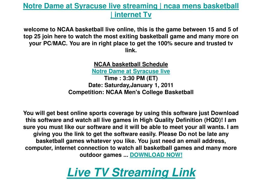 Notre Dame at Syracuse live streaming | ncaa mens basketball | internet Tv