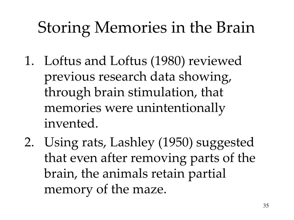 Storing Memories in the Brain