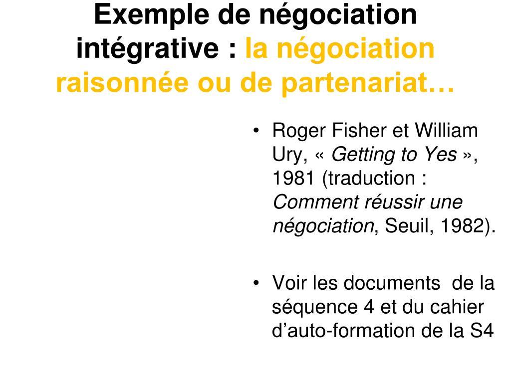 Exemple de négociation intégrative :