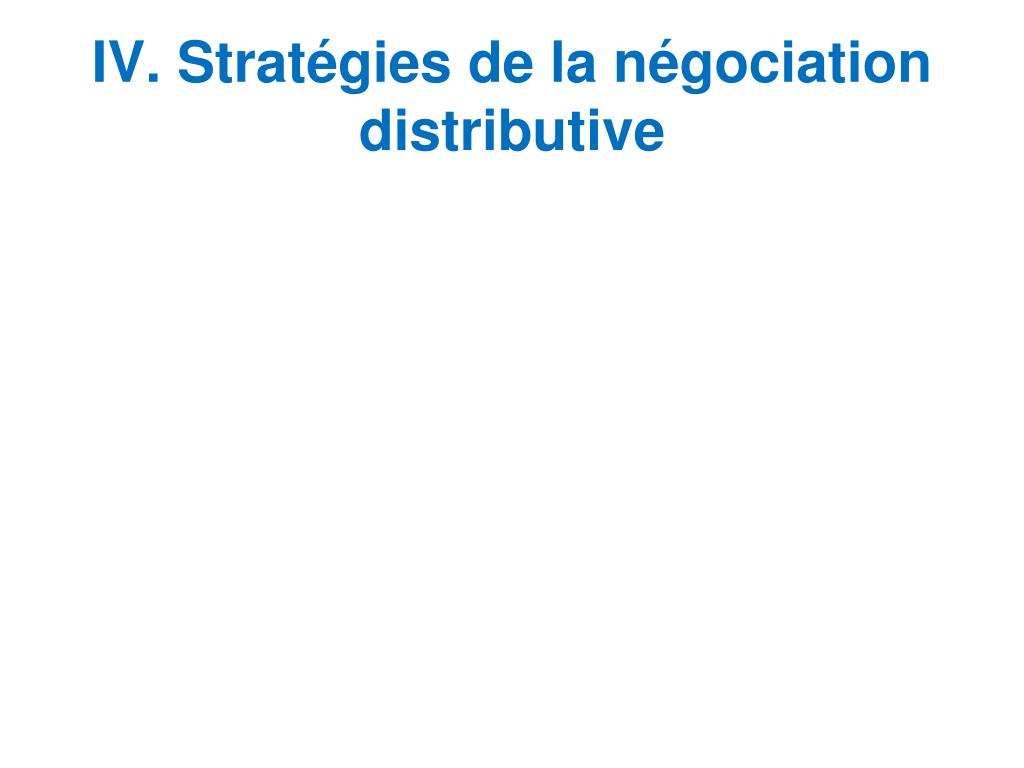 IV. Stratégies de la négociation distributive