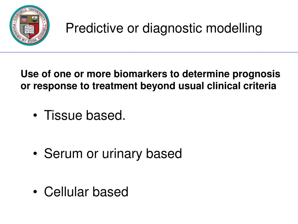 Predictive or diagnostic modelling