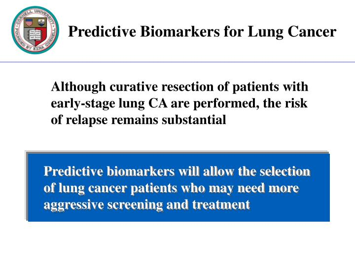 Predictive biomarkers will allow the selection of lung cancer patients who may need more