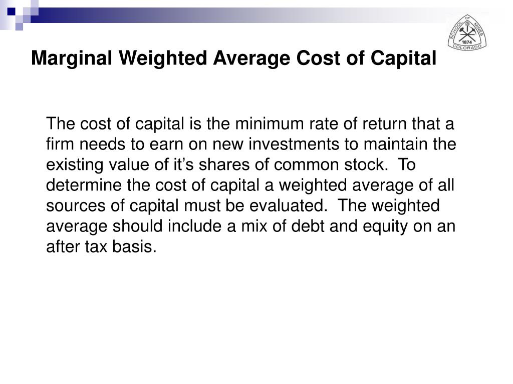Marginal Weighted Average Cost of Capital