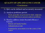 quality of life and lung cancer conclusions