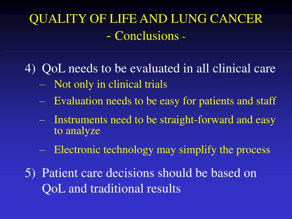 QUALITY OF LIFE AND LUNG CANCER