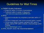guidelines for wait times