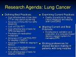 research agenda lung cancer
