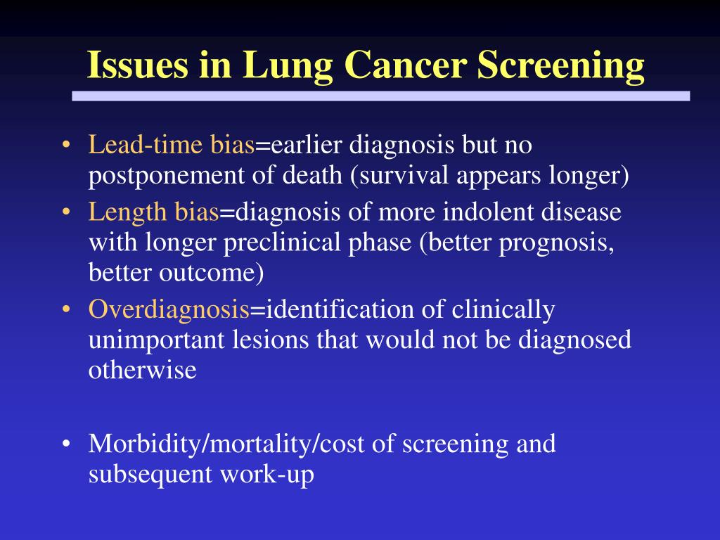 Issues in Lung Cancer Screening